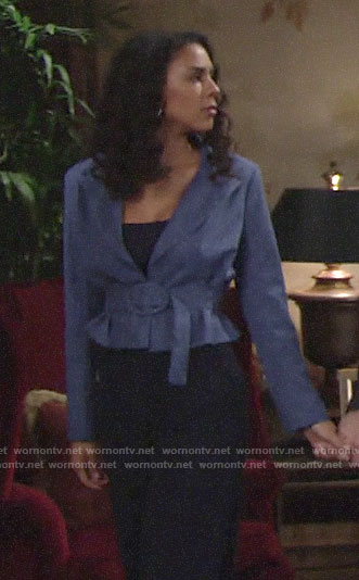 Kerry's blue belted peplum blazer on The Young and the Restless