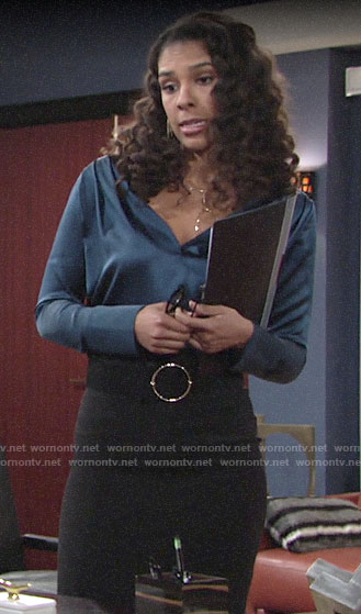 Kerry's blue blouse on The Young and the Restless