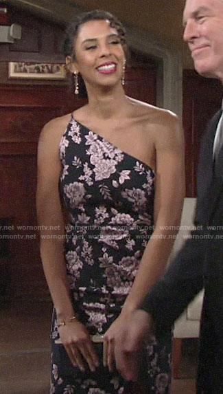 Kerry's floral dress at Summer's wedding on The Young and the Restless