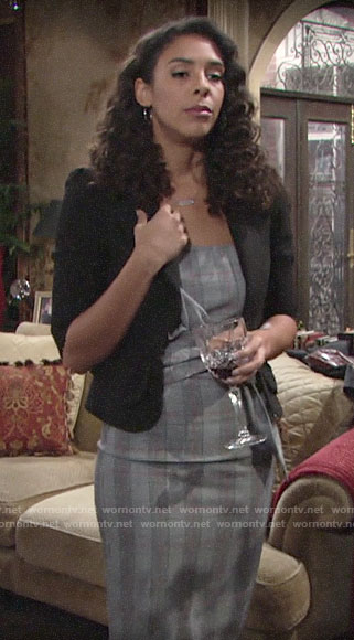 Kerry's plaid knotted dress on The Young and the Restless