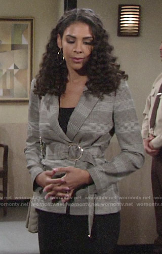 Kerry's plaid belted jacket on The Young and the Restless