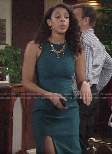 Kerry's teal green high slit dress on The Young and the Restless
