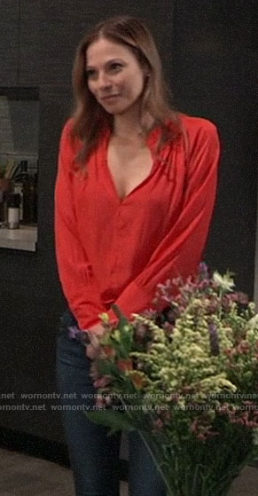 Kim's red split-neck top on General Hospital
