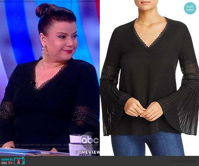 Christine Pleated-Sleeve Eyelet-Detail Top by Kobi Halperin worn by Ana Navarro  on The View