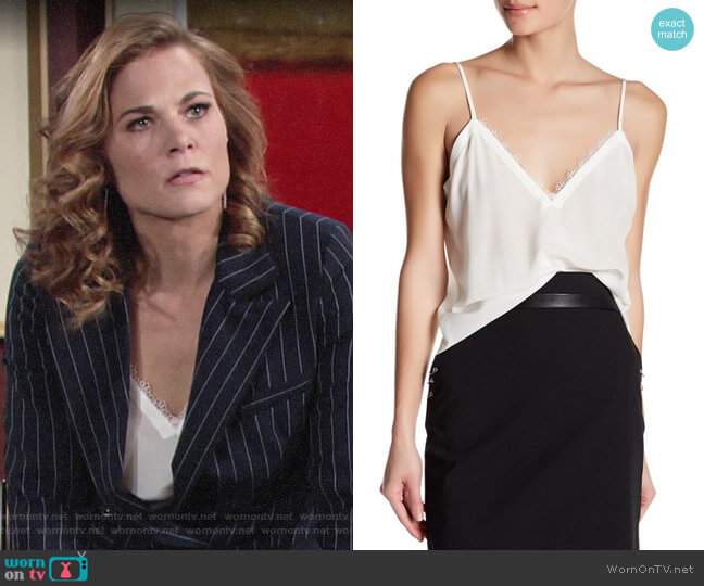 The Kooples Lace Trim Crepe de Chine Silk Camisole worn by Phyllis Newman (Gina Tognoni) on The Young & the Restless