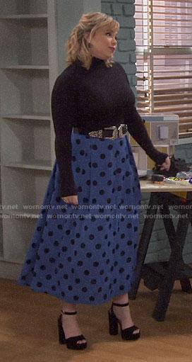 Kristin's blue polka dot maxi skirt on Last Man Standing