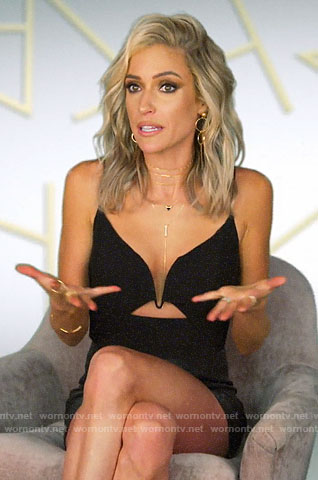Kristin's black plunge neck top on Very Cavallari