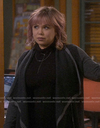 Kristin's grey colorblock cardigan on Last Man Standing