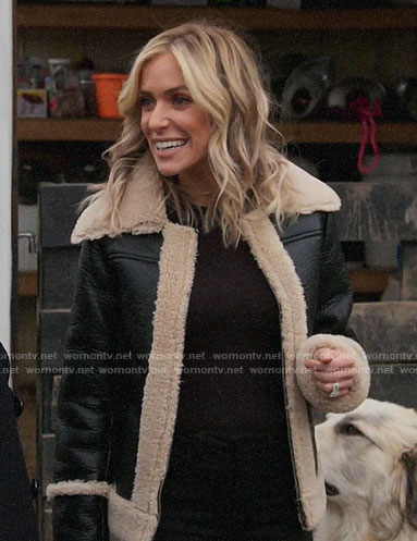 Kristin's leather jacket with shearling trim on Very Cavallari