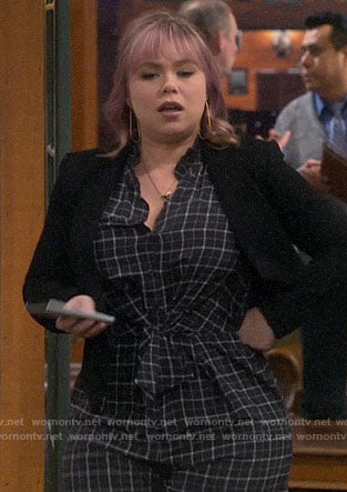 Kristin's plaid jumpsuit on Last Man Standing