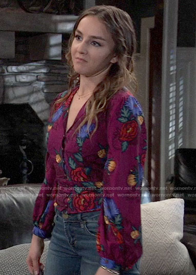 Kristina's purple floral top on General Hospital