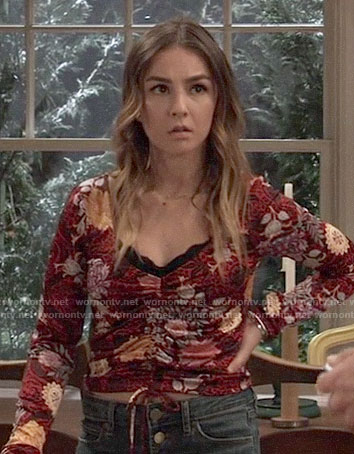 Kristina's red floral ruched front top on General Hospital