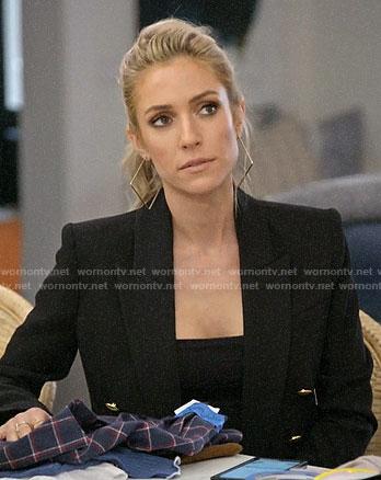 Kristin's black blazer and square hoop earrings on Very Cavallari