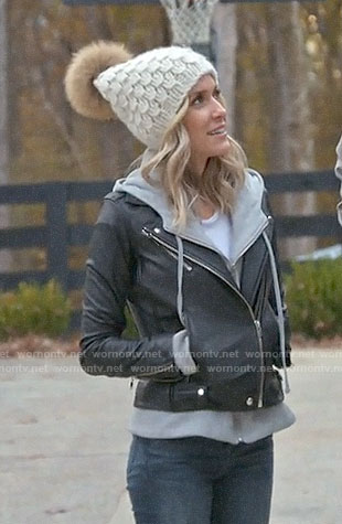 Kristin's leather hoodie jacket on Very Cavallari
