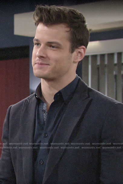 Kyle's navy button down shirt on The Young and the Restless