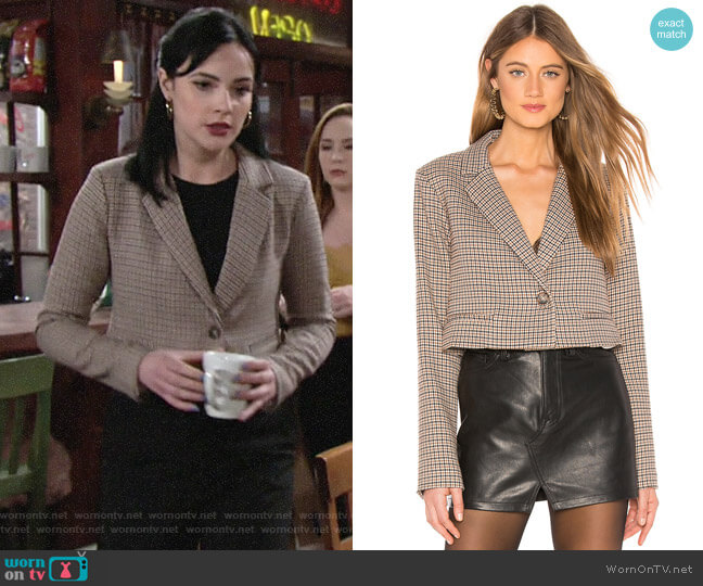 L'Academie The Lori Cropped Jacket  worn by Tessa Porter (Cait Fairbanks) on The Young & the Restless