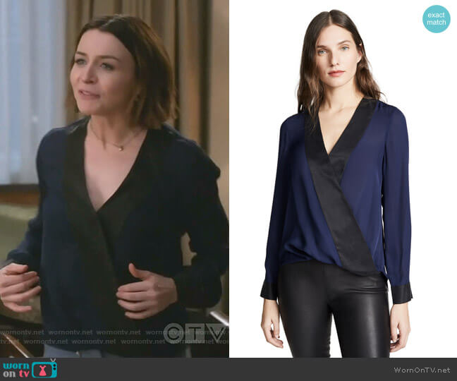 Kyla Blouse by L'Agence worn by Amelia Shepherd (Caterina Scorsone) on Greys Anatomy
