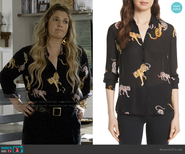 L'Agence Nina Tiger Print Silk Blouse worn by Sheila Hammond (Drew Barrymore) on Santa Clarita Diet