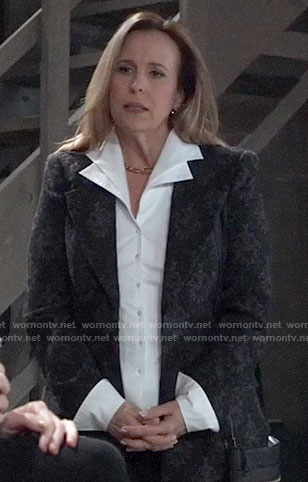 Laura's white double-collar shirt and damask print blazer on General Hospital