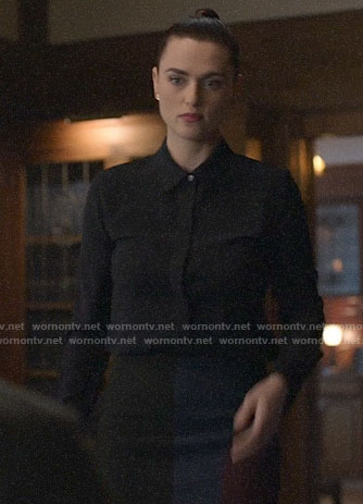 Lena's black blouse and colorblock skirt on Supergirl
