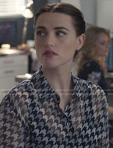 Lena's houndstooth blouse on Supergirl