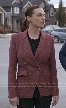 Lena's red double-breasted blazer on Supergirl
