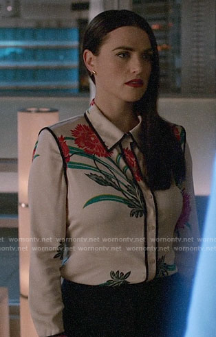 Lena's flower print shirt on Supergirl