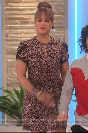 Eve's leopard lace trim mini dress on The Talk