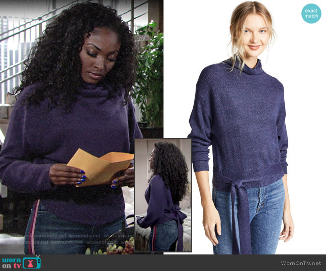 Line & Dot Oriana Tied Sweater worn by Ana Hamilton (Loren Lott) on The Young & the Restless