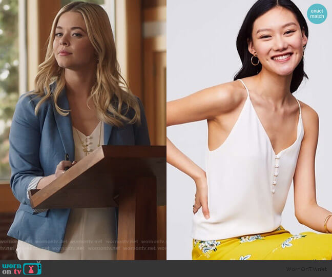 Covered Button Strappy Cami by Loft worn by Alison DiLaurentis (Sasha Pieterse) on PLL The Perfectionists
