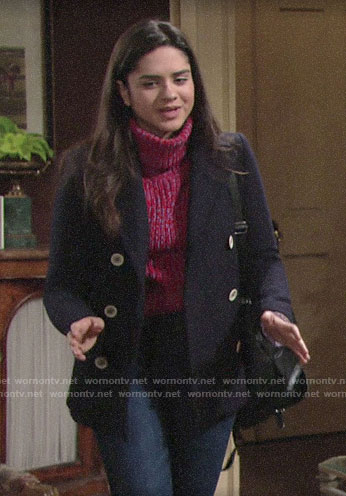 Lola's short navy coat on The Young and the Restless