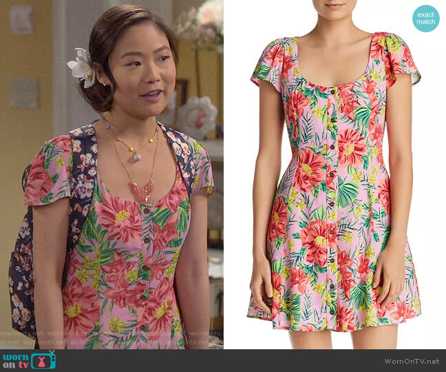 Lost and Wander Mai Tai Tropical Floral Mini Dress worn by Jen (Krista Marie Yu) on Last Man Standing