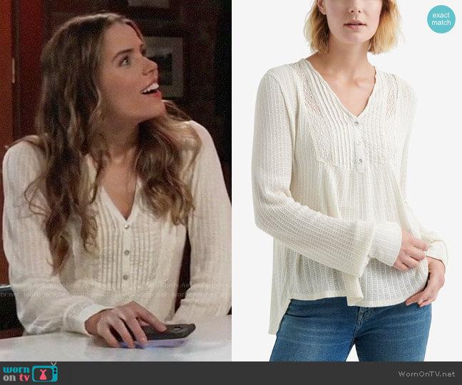 Lucky  Brand Pintuck-Bib Knit Top worn by Sasha Gilmore (Sofia Mattsson) on General Hospital