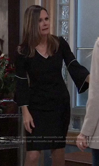 Lucy's black bell-sleeve dress with white trim on General Hospital