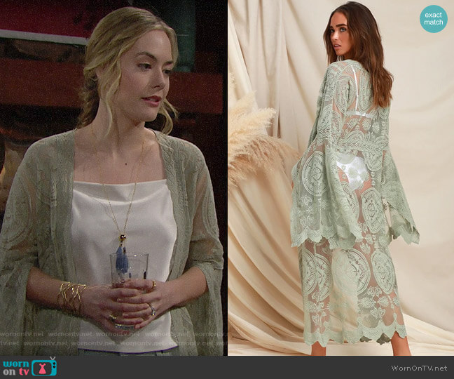 Lulus Livin' Breezy Sage Green Lace Midi Kimono Top worn by Hope Logan (Annika Noelle) on The Bold & the Beautiful