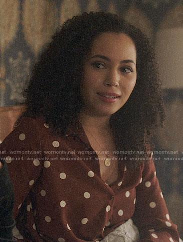 Macy's brown polka dot blouse on Charmed