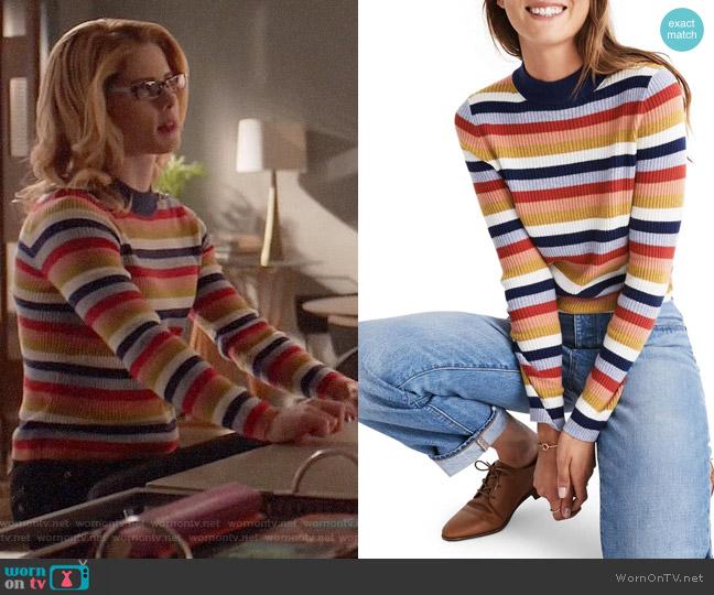 Madewell Stripe Mock Neck Pullover Sweater worn by Felicity Smoak (Emily Bett Rickards) on Arrow