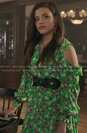 Maggie's green floral cold-shoulder dress on Charmed