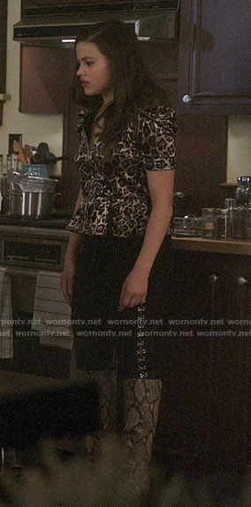 Maggie's velvet leopard print zip-front top on Charmed