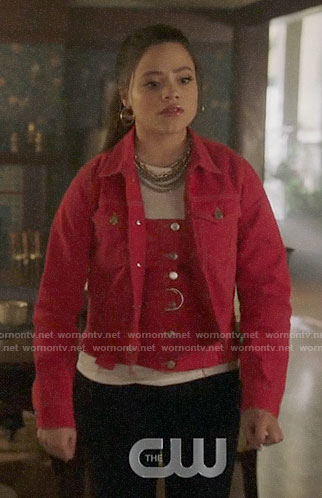Maggie's red denim button front top and jacket on Charmed