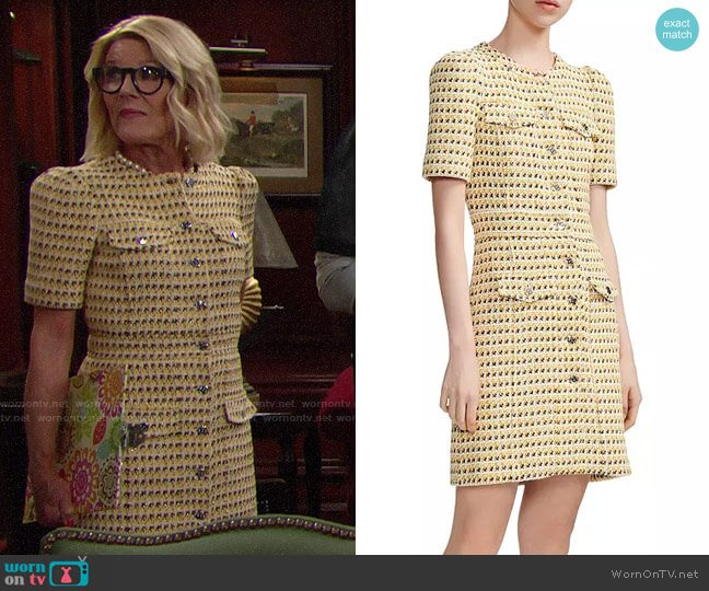Maje Rill Tweed Dress worn by Pamela Douglas (Alley Mills) on The Bold & the Beautiful