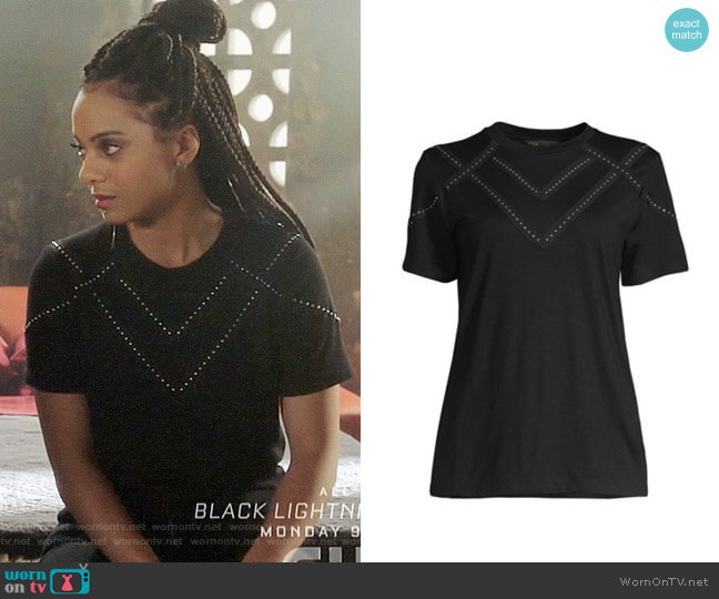 Maje Studded Tabloid T-shirt worn by Jada Shields (Aleyse Shannon) on Charmed