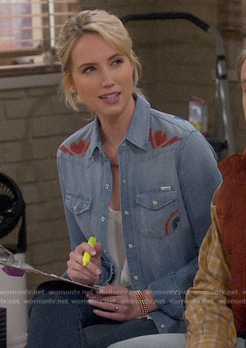 Mandy's heart and rainbow print denim shirt on Last Man Standing