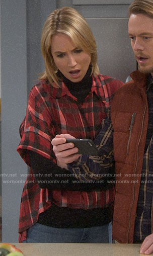 Mandy's red plaid oversized shirt on Last Man Standing