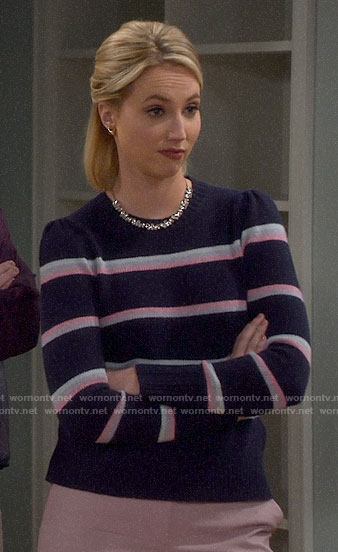 Mandy's navy and pink striped sweater on Last Man Standing