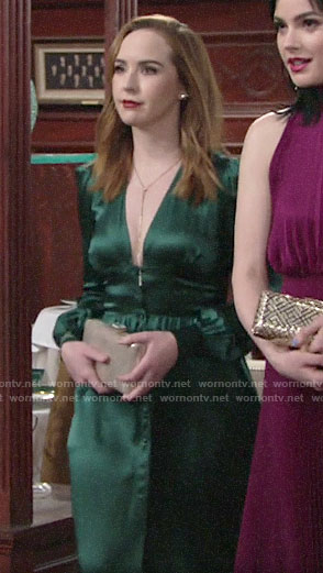 Mariah's green dress at Summer's wedding on The Young and the Restless