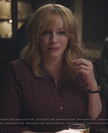 Beth's maroon polka-dot shirtdress on Good Girls