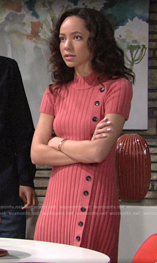 Mattie's coral pink button front dress on The Young and the Restless