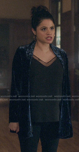 Mel's black mesh inset top and blue velvet jacket on Charmed