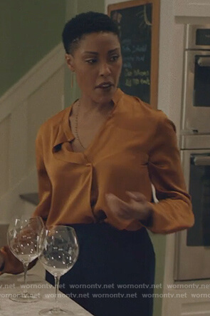 Lynn's Orange silk blouse on Black Lightning
